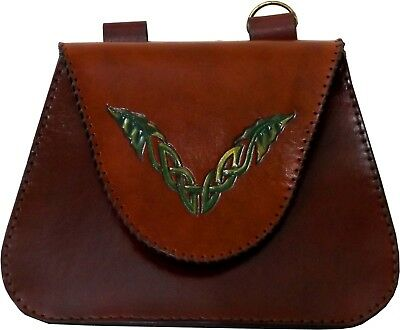 Brown Green Leaf Celtic Leather Belt Pouch Bag LARP  Hand Made To Order