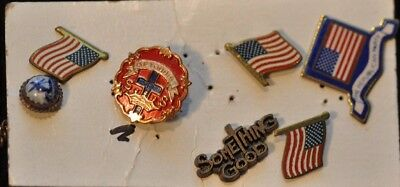 Lot of Vintage Collector Pins,7 total.,Religious and Flags,misc, CHRISTMAS SP!