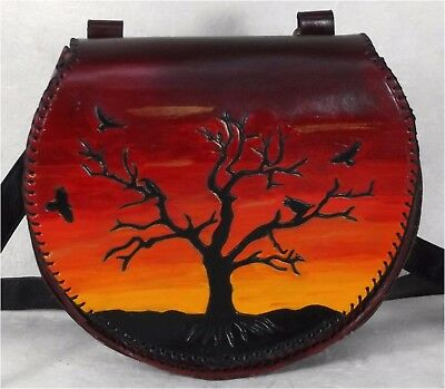 Sunset Raven Crows Tree Large Leather Belt Pouch Red LARP Hand Made To Order
