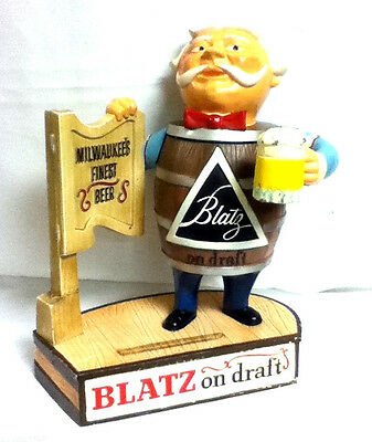 Blatz beer sign 1958 metal statue tavern keeper man vintage bar figure guy GA7