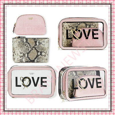 Victoria's Secret Cosmetic Bag LOVE Backstage Nested Trio (3) MAKEUP BAG NEW