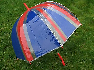 "Ladies 23"" Dome Brolly Umbrella Large Union Jack Flag Design & Red Handle Queen"