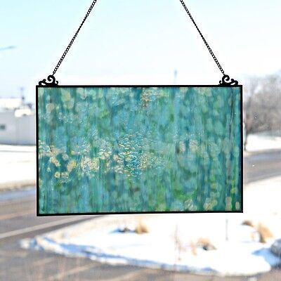 Stained Glass Panel for Window Suncatchers Decorations Mission Sea Blue Home