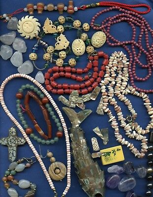 lot of assorted gemstones & shells parts & pieces of vintage jewelry etc