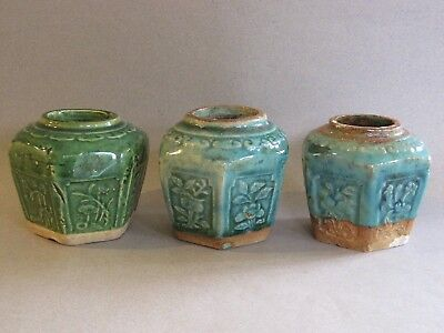 Old Chinese Ginger Jars, Green Drip Glaze Stoneware, Lot of 3