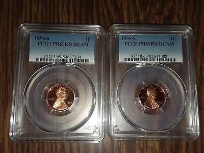 1994-S and 1995-S 1C DC (Proof) Lincoln Cents PR69RD DCAM FREE SHIPPING