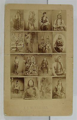 ca1890 NATIVE AMERICAN SIOUX INDIAN CABINET CARD PHOTO - W. R. CROSS SAMPLE CARD