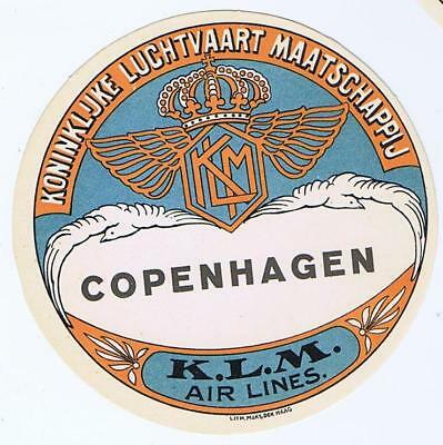 KLM Dutch airlines Copenhagen  airline aviation  Baggage luggage label  decal
