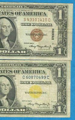 $1.00 1935-A Hawaii & $1.00 1935-A North Africa Wwii Issue Silver Certificates