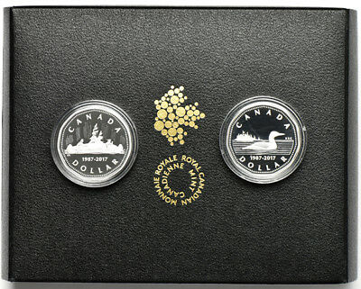 2017 $1 Fine Silver 2 Coin Canadian Set 30th Anniversary of the Loonie with OGP