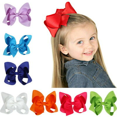 "12Pcs 4.5"" Baby Girls Huge Grosgrain Ribbon Boutique Hair Bows Kids Hair Clip"