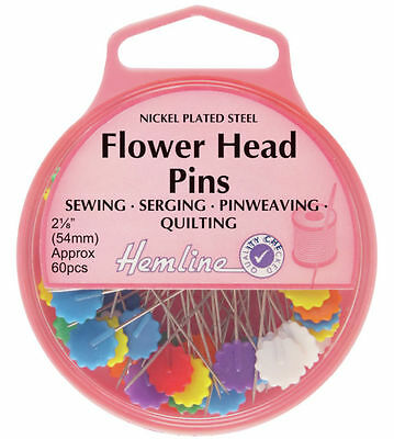 Flower Head Pins 54mm approx 60pcs by Hemline for quilting dressmaking crafts