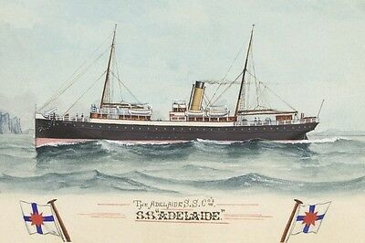 ADELAIDE of Adelaide SS Co by A C Green Watercolour Art Postcard Modern Digital