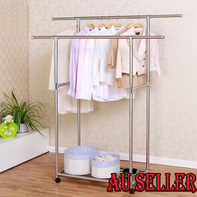 Heavy Duty Double Rail Clothing Garment Rolling Collapsible Rack Hanger Stand