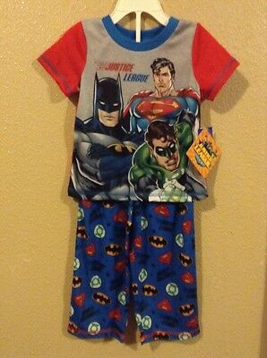 NWT Toddler Boys DC COMICS JUSTICE LEAGUE 2pc Pajama Set Blue/Red Size 3T!!