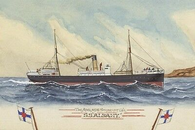 ALBANY of the Adelaide Steam Ship Co Watercolour Art digital Postcard Modern