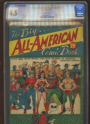 Big All American Comic Book 1 CGC 4.5 VG+ |DC 1944| Julius Schwartz's 1st Script