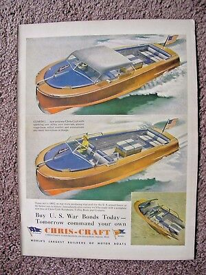 Rare 1943 Chris Craft Wood Speedboat Large Full Page Color Ad Free Shipping
