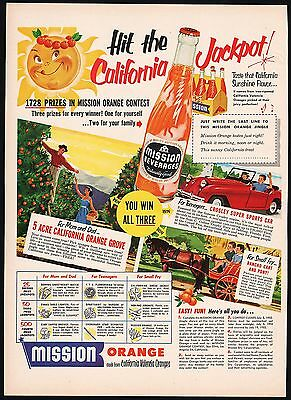 Vintage magazine ad MISSION ORANGE BEVERAGES California Jackpot contest 1952