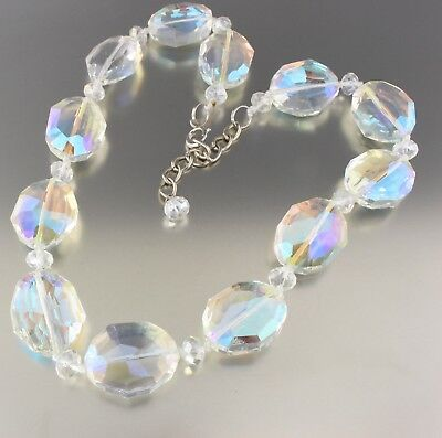 Vintage 70'S Chunky Clear Aurora Borealis Crystal Glass Bead Necklace