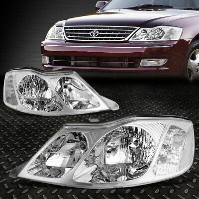 For 2000-2004 Toyota Avalon Pair Chrome Housing Clear Corner Headlight/lamp Set