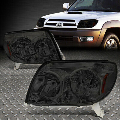 For 2003-2005 Toyota 4Runner Pair Smoked Housing Amber Corner Headlight/lamp Set