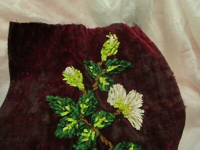 Antique Victorian Hdmd Silk Velvet Chenille Floral Leaf Embroidery Fabric Pc Sm