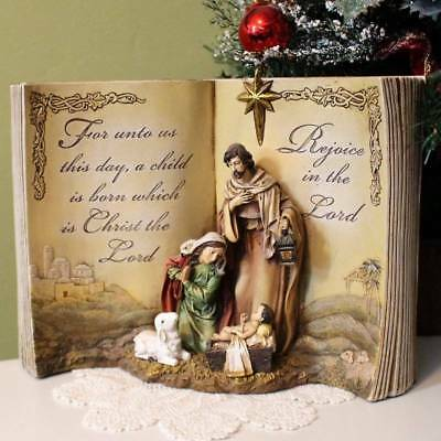 Nativity Set Christmas Statue Nestled in Bible For Unto Us A Child Is Born 12 in