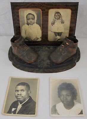 Vintage Bronzed Copper Baby Shoes Stand Black African Americana Family Photos