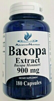 Bacopa Extract 900 mg 180 Capsules Bacopa Monnieri 3 Month Supply Made In USA