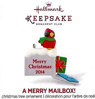 "2014 Hallmark Keepsake Mini Ornament ~""A Merry Mailbox""~ Member Exclusive ~ MNIB"
