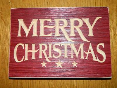 "Merry Christmas Red carved Sign 8"" X 5 1/2"""