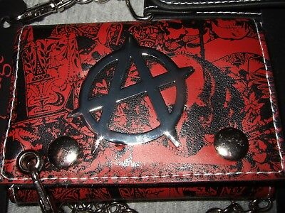 New Red Skull Background Anarchy Skulls Anarchist Logo Tri Fold Wallet And Chain