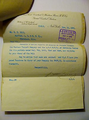 Rare 1899 Grand Central Station Ny Hudson River Letterhead Rr