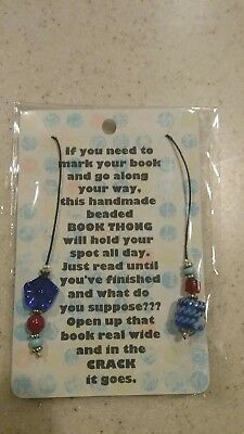 Handmade BEADED bookmark, book thong,  many with vintage beads.  Beautiful.