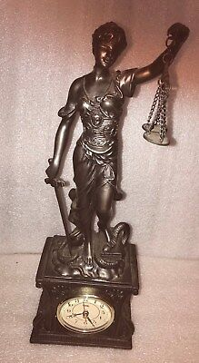 Crosa Lady Justice Statue With Clock Base Excellent Condition Works Great Rare
