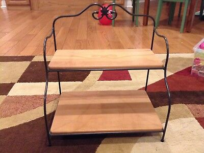 Authentic Longaberger Wrought Iron Small Bakers Rack with wooden shelves