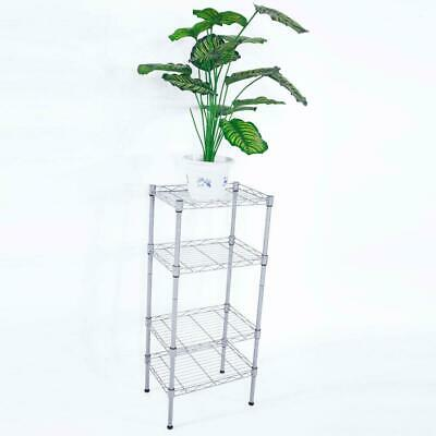 "32"" 4 Tier Shelves Wire Shelving Rack Shelf Adjustable Storage Mesh Border"