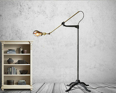 New O.C.White Vintage Style Brass Floor Lamp Semi-shade cage Light Antique Black