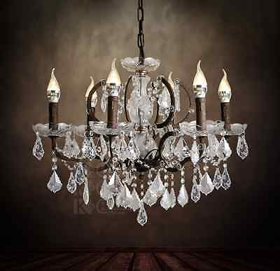 19th C. Rococo  Hanging Lamp Rustic Iron & Clear  Crystal Round Chandelier 23.6""