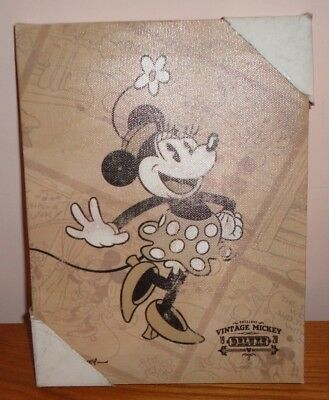 """Brand New Disney Vintage Mickey Deluxe Minnie Mouse Canvas Wall Art 6.5"""" x 8.5"""""""