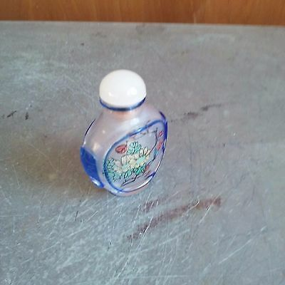 China Peiking glass inside painting of lady / flowers snuff bottle