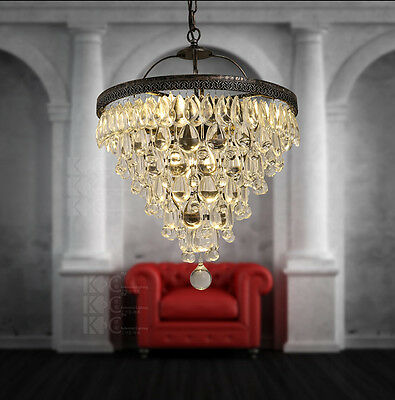 Vintage Style Pendant Crystal Antique Finish Ceiling Lamp Hanging Light 17.7""