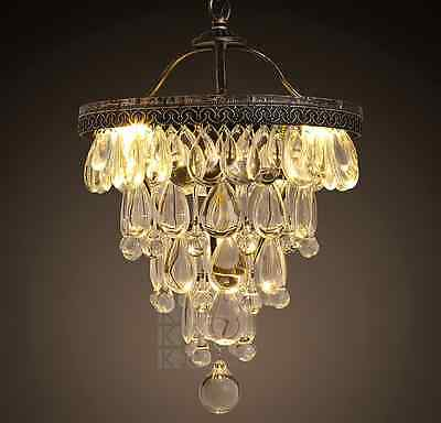 Vintage Style RH Pendant Crystal Antique Finish Ceiling Hanging Lamp  Chandelier
