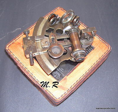 Antique Nautical Maritime ~ Brass Sextant ~ Sextant Astrolabe With Leather Box
