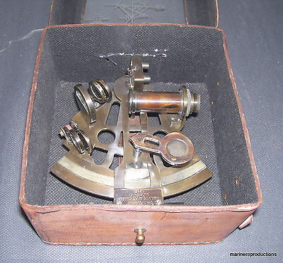 Solid Brass Sextant Nautical Maritime Astrolabe Marine Gift With Leather Box