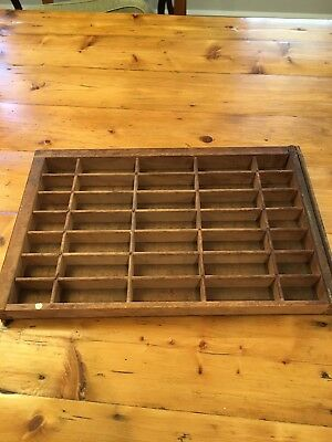 "Vintage Wood Printer's Drawer Shadow Box Display  Tray Type Set 16"" x 11"""