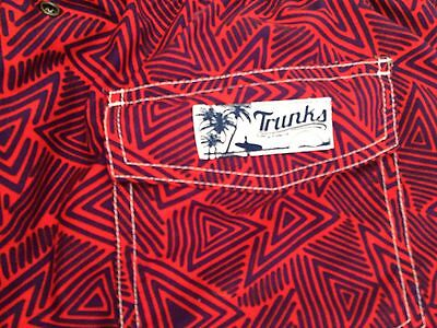 TRUNKS By Surf And Swim Co. Red Blue Purple Geometric Print Board Shorts XL