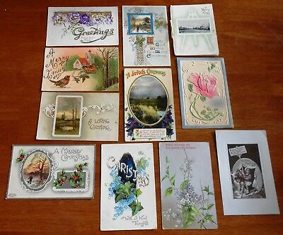 LOT OF 11 X VINTAGE CHRISTMAS GREETING POSTCARDS C1907 to 1911