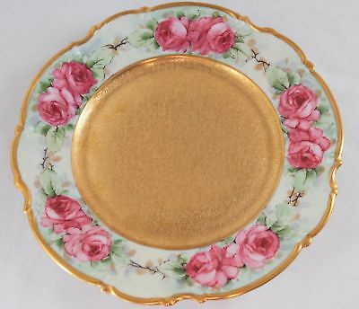 Hutschenreuther Selb Bavaria Rose 24k Gold Encrusted Hand Painted Cabinet Plate